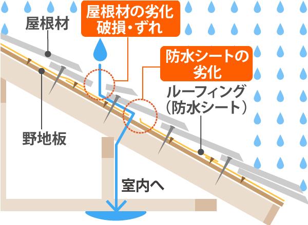 雨漏り構造イラスト