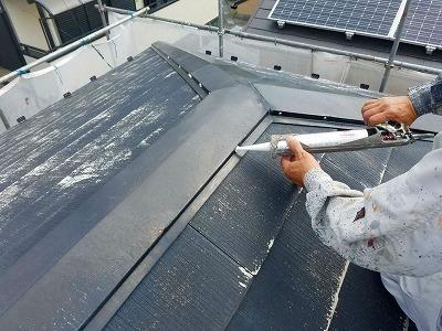 埼玉県上尾市、外壁塗装、屋根塗装、屋根釘のコーキング