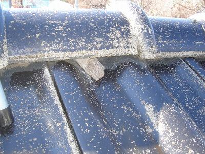 無料点検中の屋根漆喰部分、はがれてる