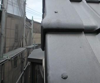 川口市 陶器瓦 釘頭補修